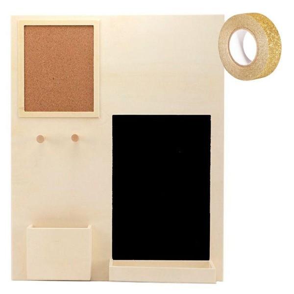 Organiseur de bureau bois 39,5 x 49,5 cm + masking tape doré à paillettes 5 m offert - Photo n°1