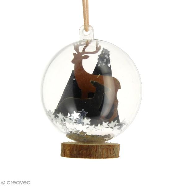 Kit déco 3D Cerf et biche en bois à décorer et à monter - 6 x 4 cm - 4 pcs - Photo n°2