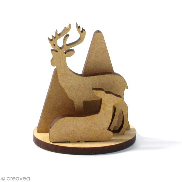 Kit déco 3D Cerf et biche en bois à décorer et à monter - 6 x 4 cm - 4 pcs - Photo n°1