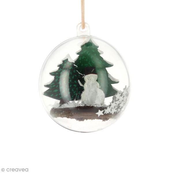 Kit déco 3D Bonhomme de neige en bois à décorer et à monter - 6 x 4 cm - 4 pcs - Photo n°2