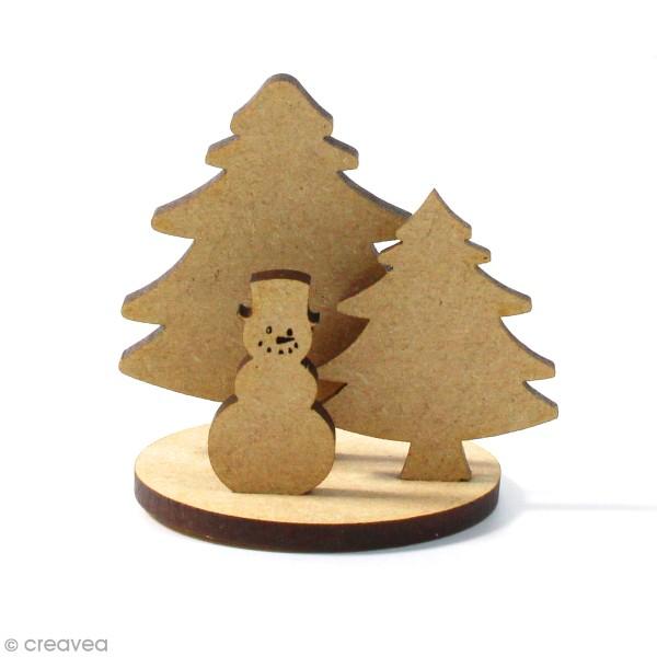 Kit déco 3D Bonhomme de neige en bois à décorer et à monter - 6 x 4 cm - 4 pcs - Photo n°1