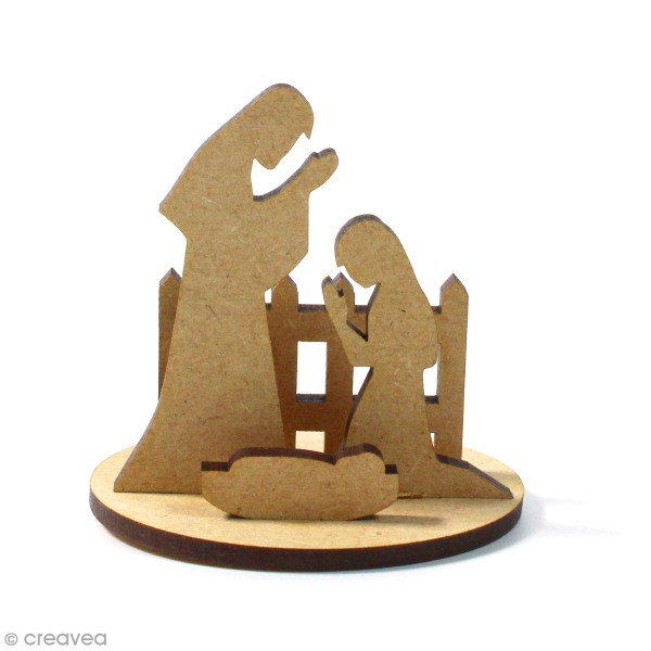 Kit déco 3D Crèche en bois à décorer et à monter - 8 x 6 cm - 5 pcs - Photo n°1