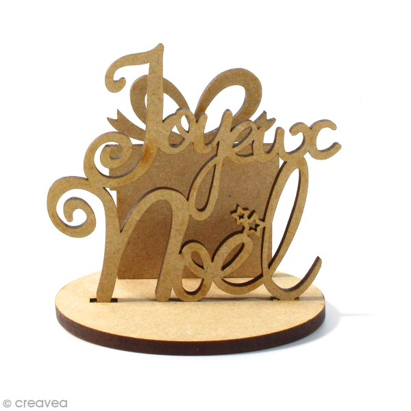 Kit déco 3D Joyeux Noël en bois à décorer et à monter - 8 x 6 cm - 3 pcs - Photo n°1