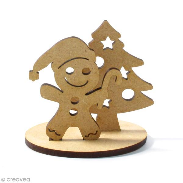 Kit déco 3D Bonhomme pain d'épices en bois à décorer et à monter - 8 x 6 cm - 3 pcs - Photo n°1