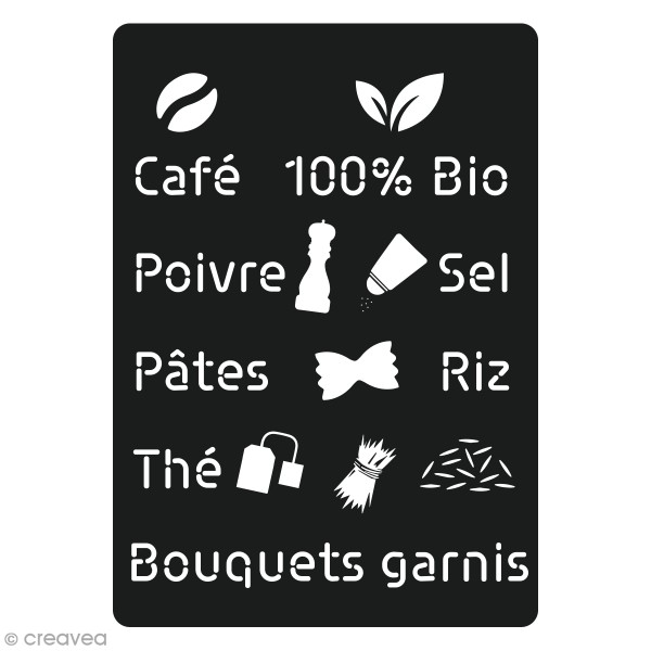 Pochoir à peindre Mots et Symboles Cuisine - 16 motifs différents - Photo n°1