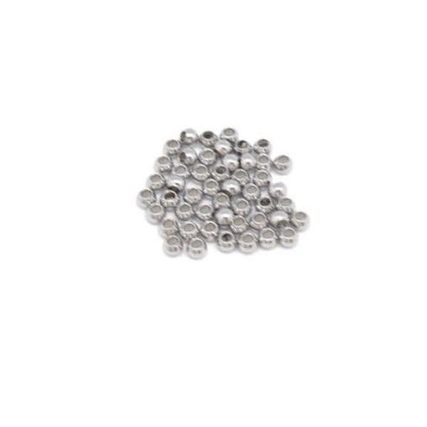 30 Perles Intercalaire Ronde 3mm En Acier Inoxydable Argenté Pour Cordon De 1mm - Photo n°3