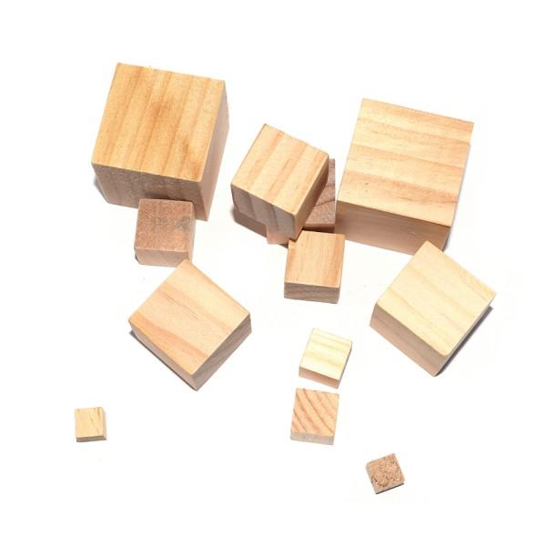 Cube en bois plein de présentation (sans trou) 2x2x2 cm - Photo n°2