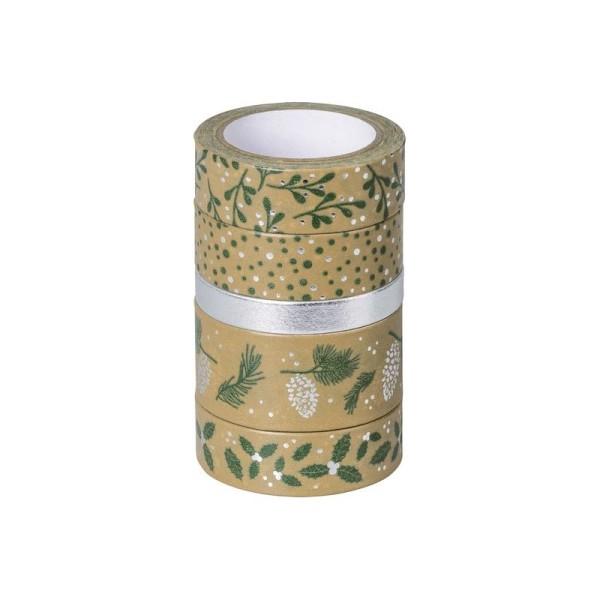 Rubans adhésifs décoratifs Washi Tape - Vert/argent - Photo n°1