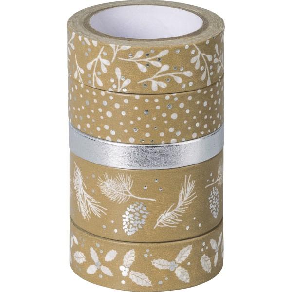 Rubans adhésifs décoratifs Washi Tape - Argent/Blanc - Photo n°1