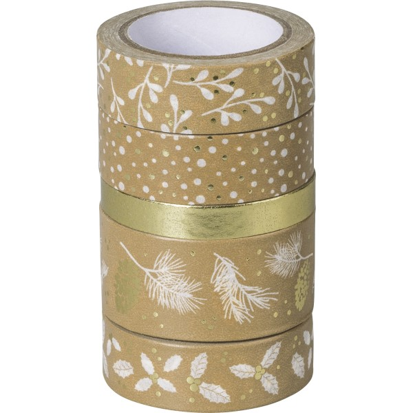 Rubans adhésifs décoratifs Washi Tape - Or/Blanc - Photo n°1