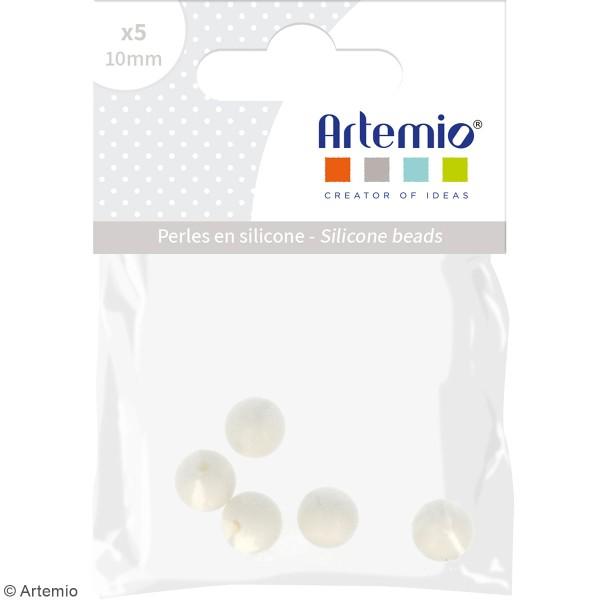 Lot de perles rondes en silicone - 10 mm - Blanc - 5 pcs - Photo n°2
