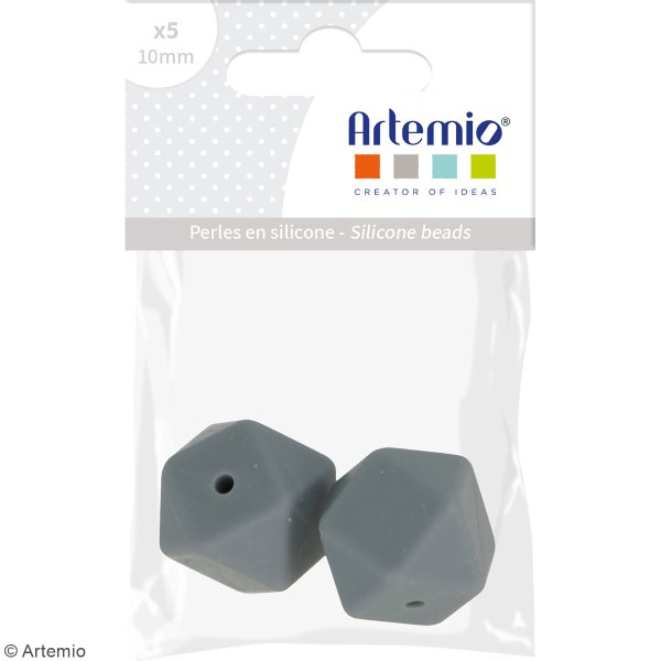 Lot de perles hexagonales en silicone - 17 mm - Gris - 2 pcs - Photo n°2