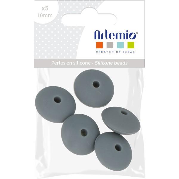 Lot de perles plates en silicone - 12 x 7 mm - Gris - 5 pcs - Photo n°2