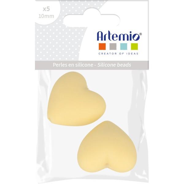 Lot de perles coeur en silicone - 29 x 19 x 12 mm - Jaune - 2 pcs - Photo n°2