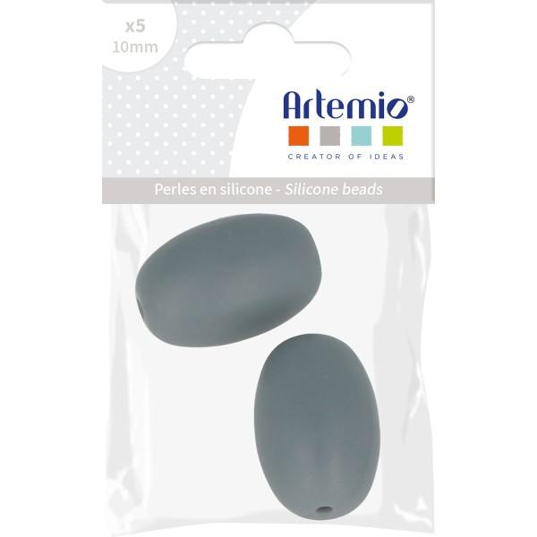 Lot de perles olives en silicone - 20 x 14 mm - Gris - 2 pcs - Photo n°2