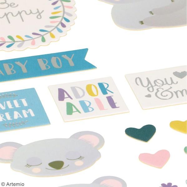 Stickers cartonnés Artemio - Bébé Koala - 62 pcs - Photo n°2