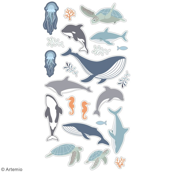 Stickers puffies Animaux Marins - 23 autocollants - Photo n°3