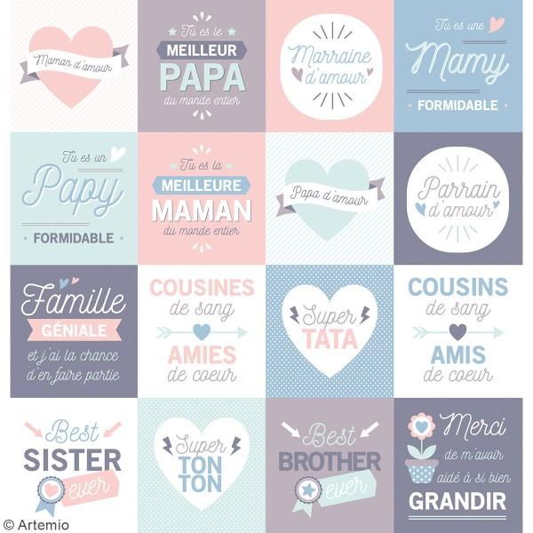 Stickers Artemio Texte - J'aime ma famille  - 46 pcs - Photo n°2