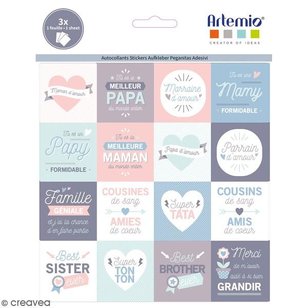 Stickers Artemio Texte - J'aime ma famille  - 46 pcs - Photo n°1