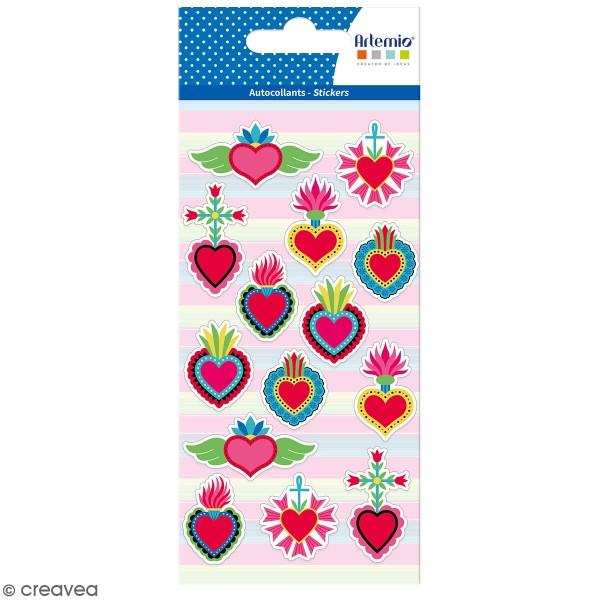 Stickers puffies Viva la Vida Coeur - 14 autocollants - Photo n°1