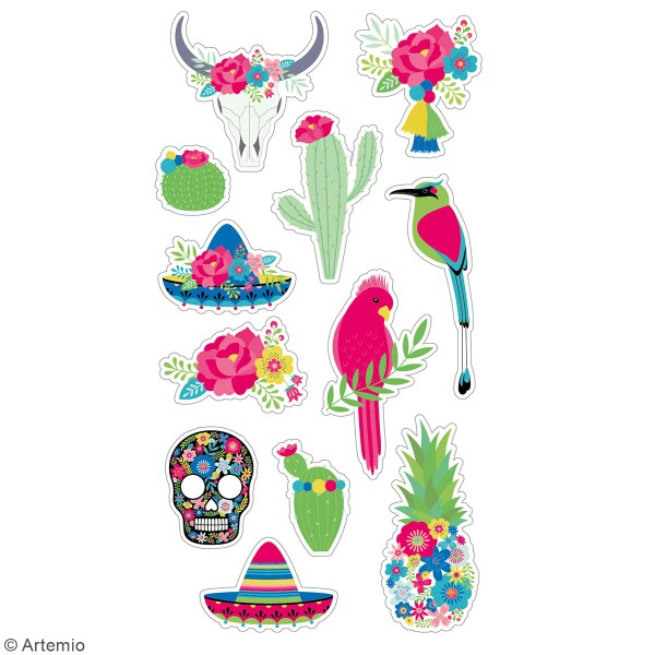 Stickers puffies Viva la Vida Mexique - 12 autocollants - Photo n°2