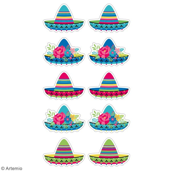 Stickers puffies Sombreros - 10 autocollants - Photo n°3