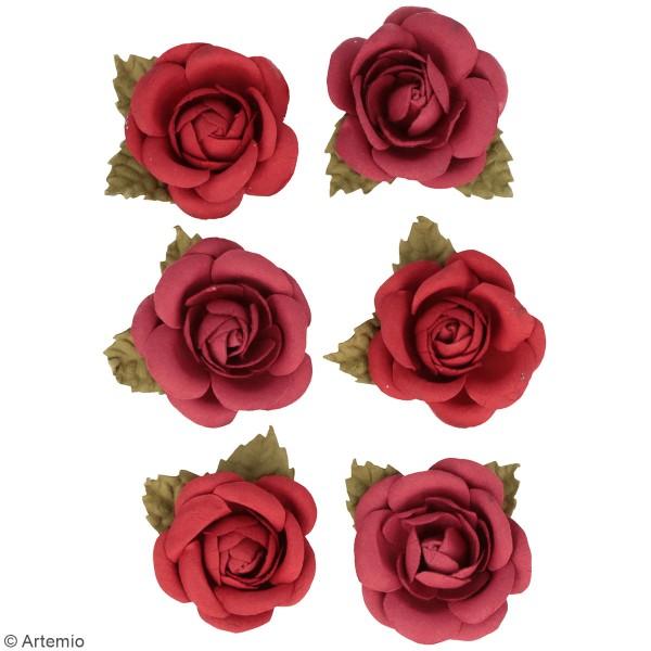 Fleurs en papier Artemio - Roses rouges - 6 pcs - Photo n°2