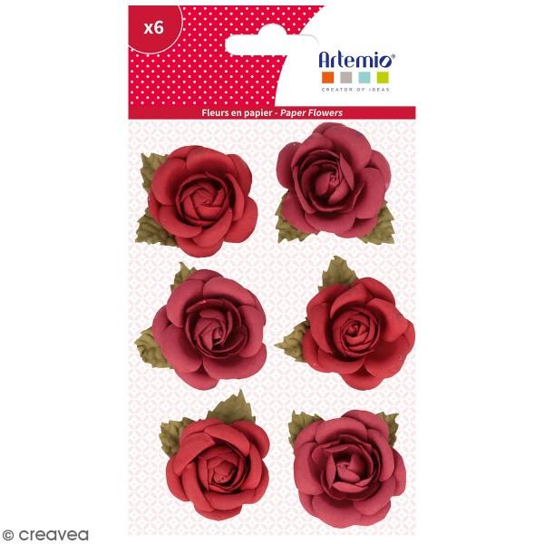 Fleurs en papier Artemio - Roses rouges - 6 pcs - Photo n°1