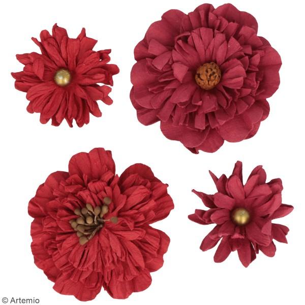 Fleurs en papier Artemio - Rouge - 4 pcs - Photo n°2