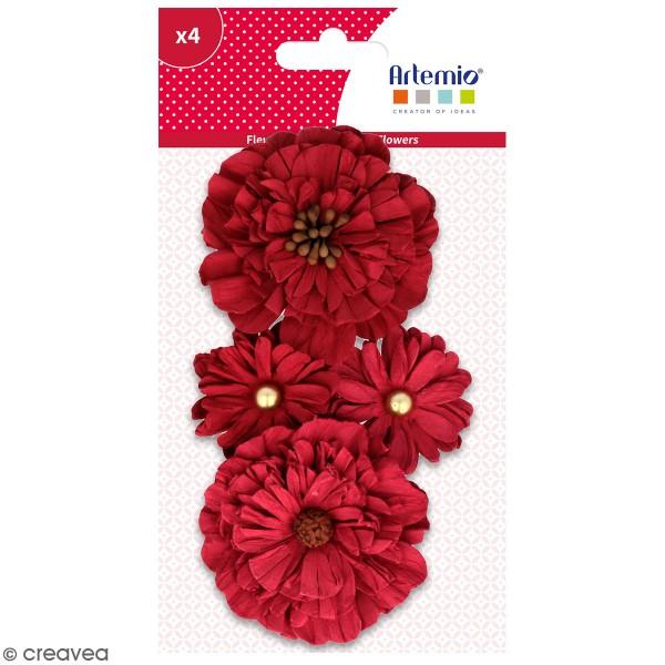 Fleurs en papier Artemio - Rouge - 4 pcs - Photo n°1