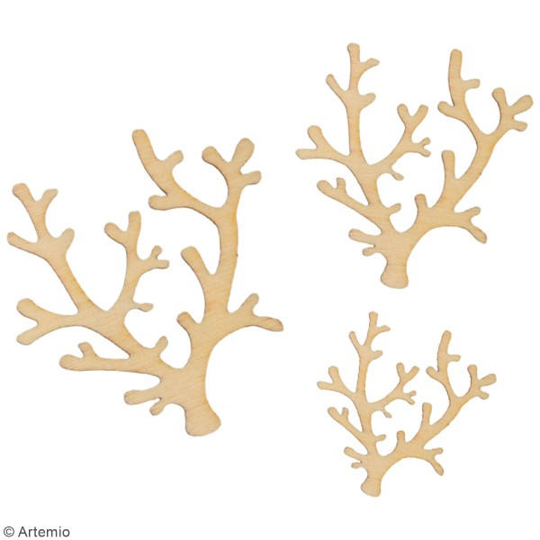 Set de mini silhouettes en bois - Coraux - 30 pcs environ - Photo n°3