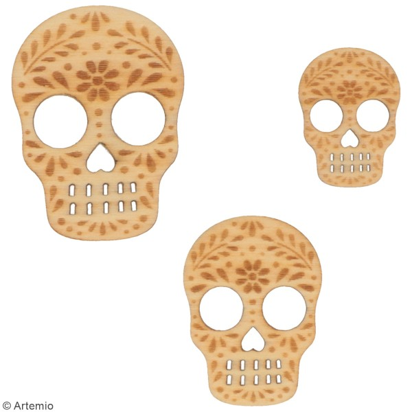 Set de mini silhouettes en bois - Tête de mort mexicaine - 30 pcs environ - Photo n°3