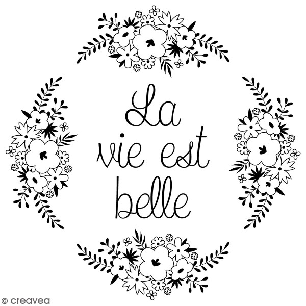 Tampons Bois Artemio - La vie est belle - 10 x 10 cm - Photo n°1