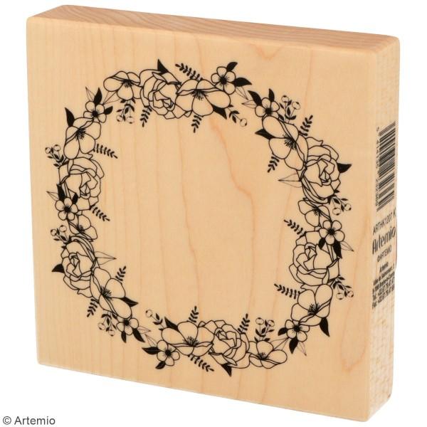 Tampons Bois Artemio - Couronne de fleurs - 10 x 10 cm - Photo n°2