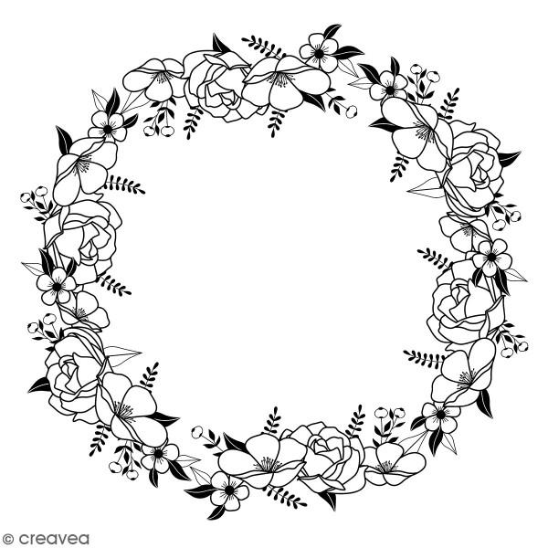 Tampons Bois Artemio - Couronne de fleurs - 10 x 10 cm - Photo n°1