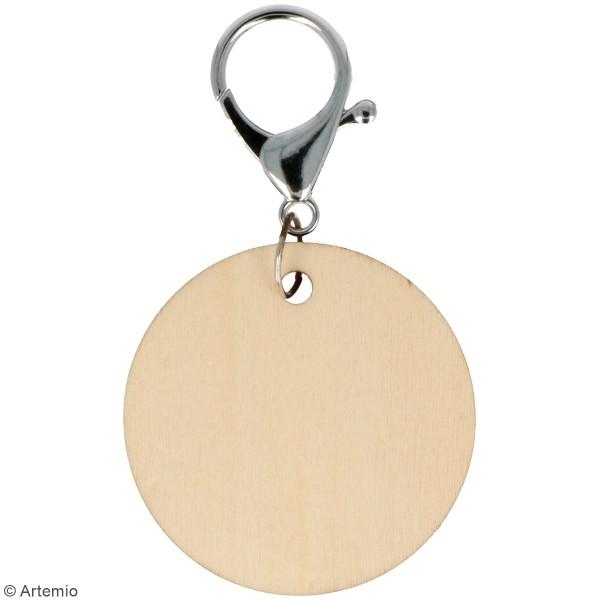 Porte-clés Rond en bois à décorer - 5 cm - 3 pcs - Photo n°2