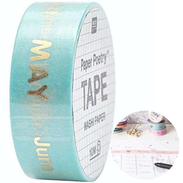 1pc Mois Washi Ruban de Papier de Calligraphie Agenda Personnalisé Balle de Journal Journal Planific - Photo n°1