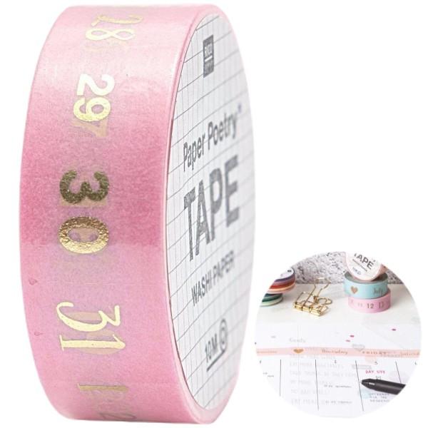 1pc Rose Numéros de Papier Washi Tape 1 / 31 Calligraphie Agenda Personnalisé Balle de Journal Journ - Photo n°1