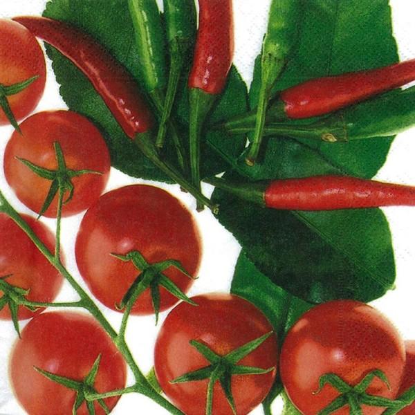 Serviette en papier - Motifs Tomates et piments - Photo n°1