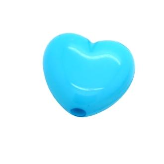20 Perles Coeur Bleu Azur 11 mm