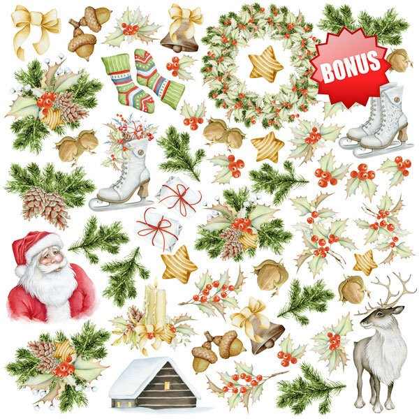10 papiers 30,5 x 30,5 cm FABRIKA DECORU AWAITING CHRISTMAS - Photo n°2