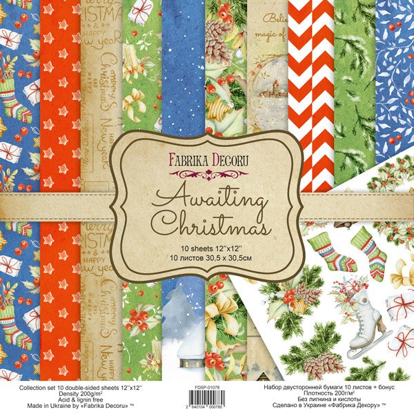 10 papiers 30,5 x 30,5 cm FABRIKA DECORU AWAITING CHRISTMAS - Photo n°1