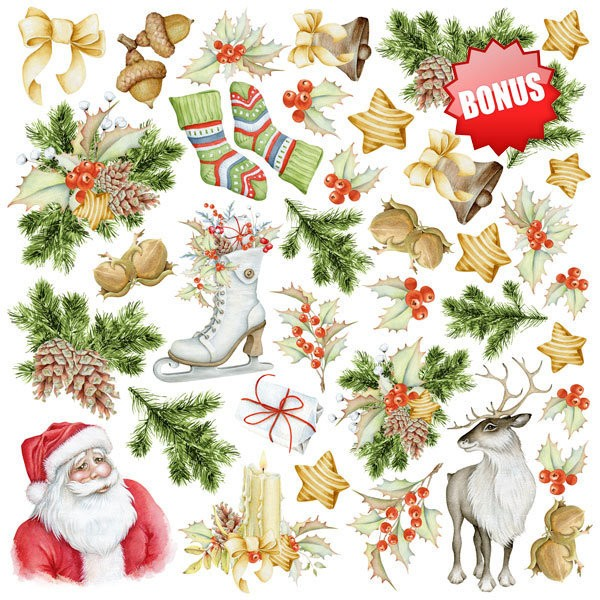 10 papiers scrapbooking 20 x 20 cm FABRIKA DECORU AWAITING CHRISTMAS - Photo n°2