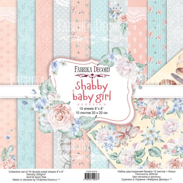 10 papiers scrapbooking 20 x 20 cm FABRIKA DECORU SHABBY BABY GIRL - Photo n°1