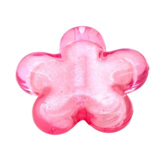 5 Perles Fleur Rose Clair 27mm