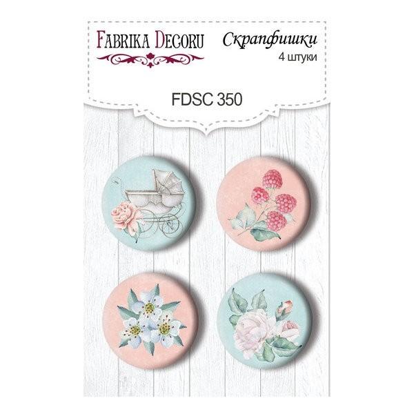 4 badges métal décoration scrapbooking Fabrika Décoru SHABBY BABY GIRL 350 - Photo n°1