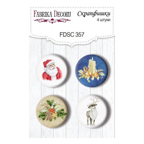 4 badges métal décoration scrapbooking Fabrika Décoru AWAITING CHRISTMAS 357 - Photo n°1