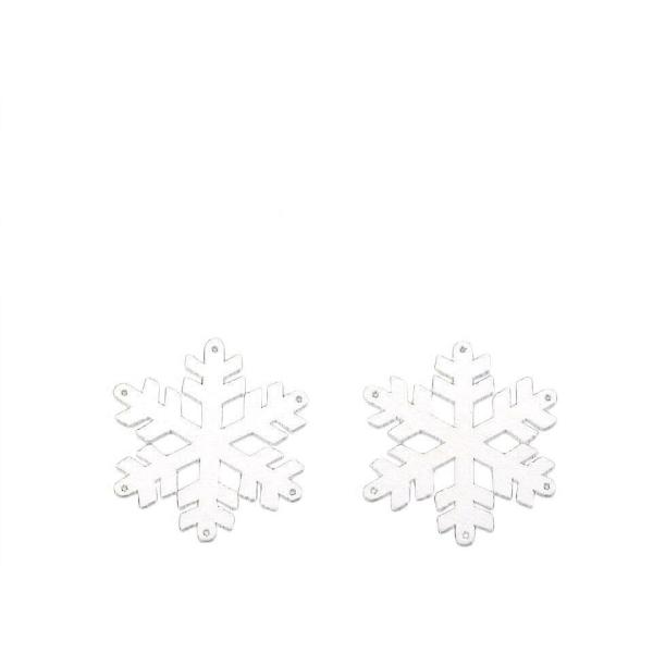 10pc 1 Blanc en Bois découpé à Accrocher Ou À la Colle - Flocon de neige, Noël, Art de Noël, des Éto - Photo n°1