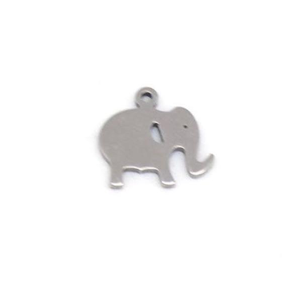 5 Petites Breloques Éléphant Argenté En Métal Acier Inoxydable - Photo n°3