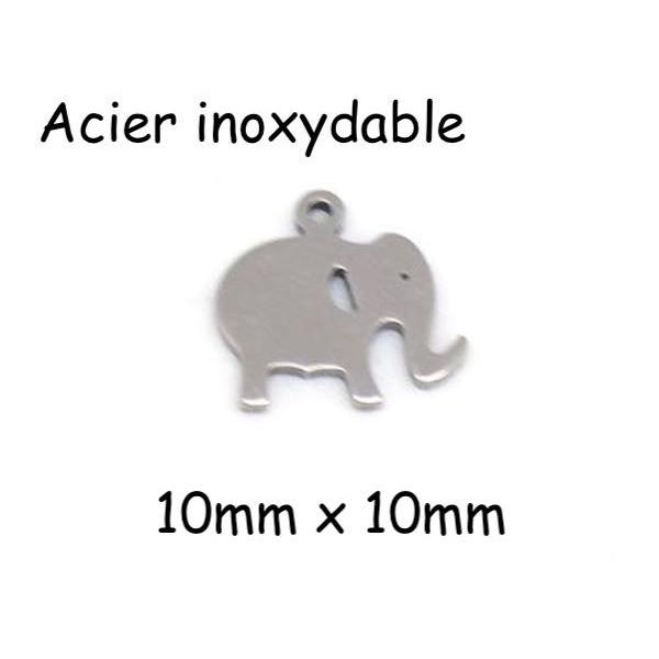 5 Petites Breloques Éléphant Argenté En Métal Acier Inoxydable - Photo n°1
